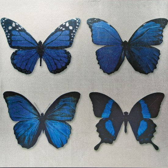 Blue metallic butterfly canvas from homebase january - Butterfly wallpaper homebase ...