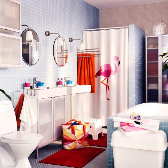 flamingo shower curtain family bathroom ideas. Black Bedroom Furniture Sets. Home Design Ideas