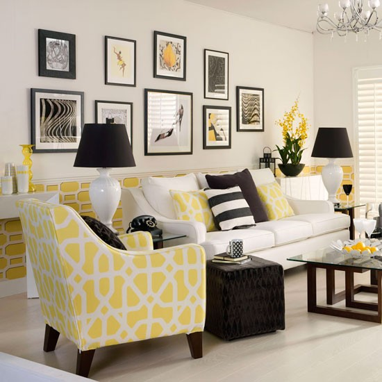Monochrome And Yellow Living Room