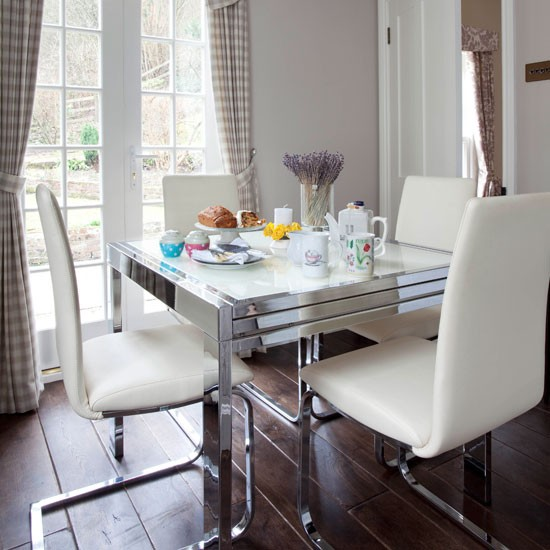 Modern Victorian Dining Room: Country Dining Room With Contemporary Table And Chairs