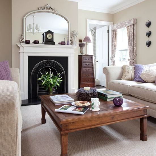 Victorian Sitting Rooms: Neutral Living Room With Cast Iron Fireplace