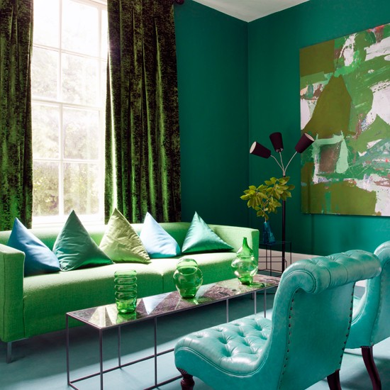 Green and blue living room decor 2017 grasscloth wallpaper - Green living room ideas decorating ...