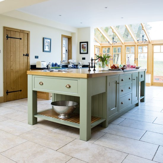 Green Painted Kitchen Galley: Take A Tour Around A Painted Country-style