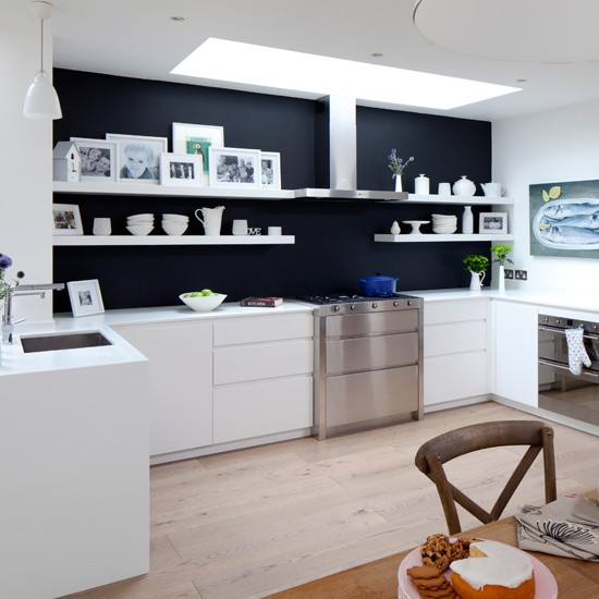 Painted Kitchen Ideas For Walls: White Kitchen With Glamorous Lighting