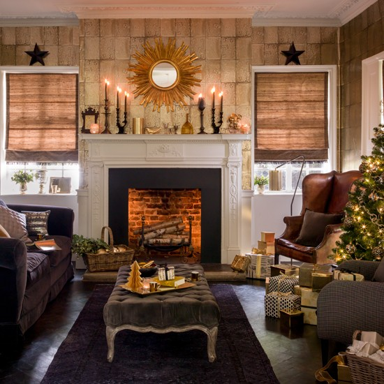 Black And Gold Festive Living Room