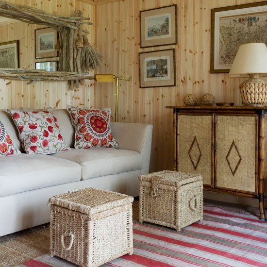 20 Summer House Design Ideas: Natural Wood-and-wicker Living Room
