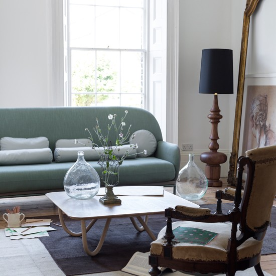Modern Living Room With Mint Green Sofa