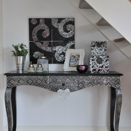Console Table Decorating Ideas: Silver Console Table In Hallway