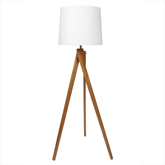 Wooden Tripod Floor Lamp With Cream Shade From Sainsbury S