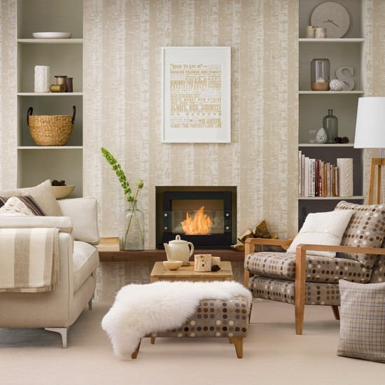 Neutral Living Room With Patterned Wallpaper