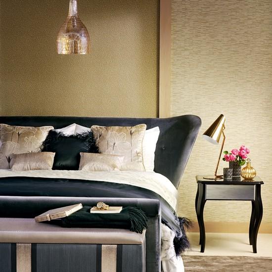 Opulent Gold And Black Bedroom