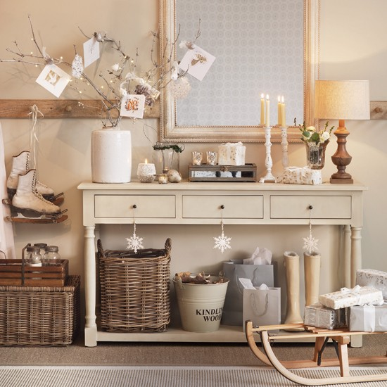 Sofa Table Decorations: Cream Hallway With Console Table