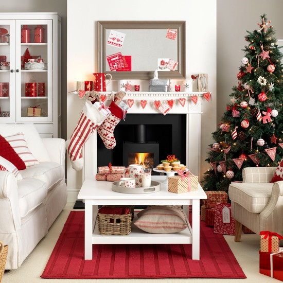 Scandi-style red and white living room | housetohome.co.uk