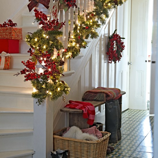 White Painted Hallway With Garland