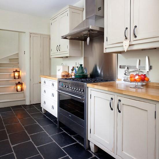 White Kitchen Slate Floor Modern Home Design And Decor