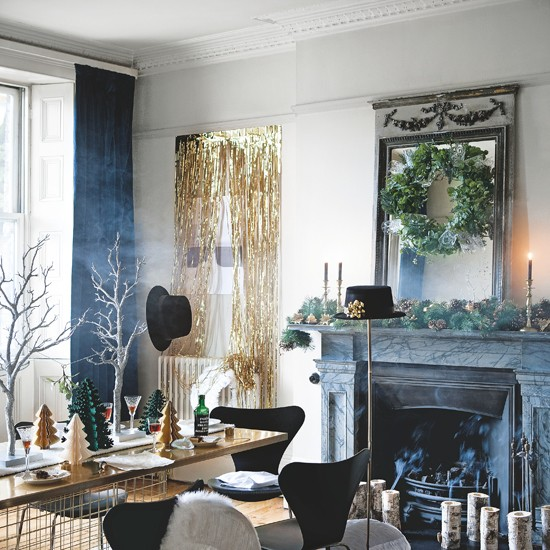 Black, White And Gold Dining Room