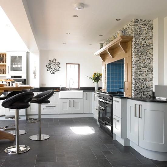 Blue Kitchen Flooring Ideas: Pale Blue Kitchen With Range Cooker