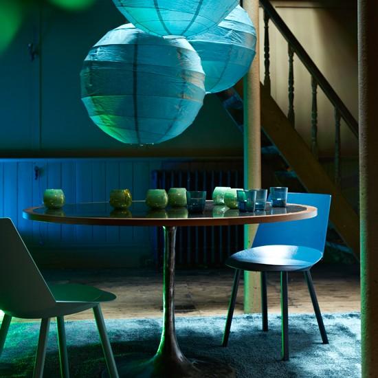 Dramatic Dining Room Design: Dramatic Blue Dining Room