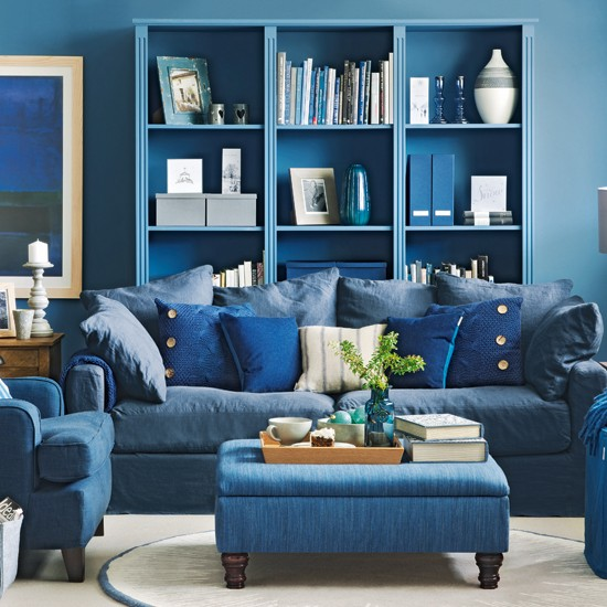 Blue Living Room: Denim Blue Living Room