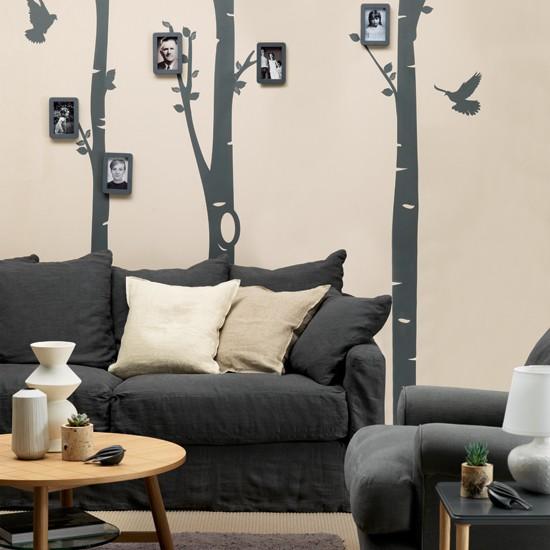 Cream and black statement living room living room - Black and cream living room decor ...