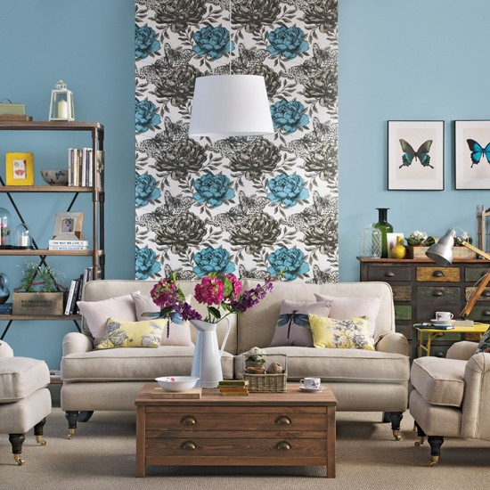 20 Charming Blue And Yellow Living Room Design Ideas: Blue And Beige Living Room