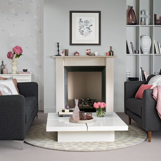 Grey Living Room Ideas: Grey And Pink Living Room