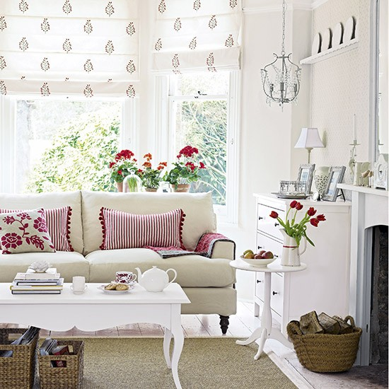 White Living Room: Scandi Living Room With Red And Florals