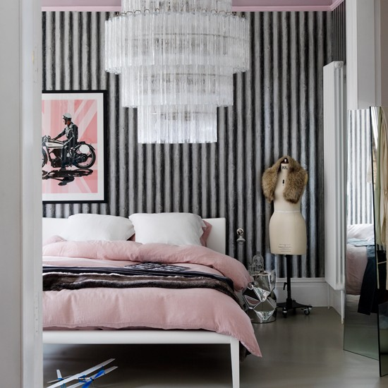 Pink Black And White Bedroom Designs Wall Art Ideas For Bedroom Bedroom Ceiling Designs 2013 Jack Wills Bedroom Wallpaper: Glamorous Pink Bedroom With Corrugated Metal Wallpaper