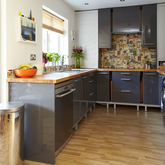 Wooden Kitchen Cabinets Uk: Glossy Grey And Wood Kitchen