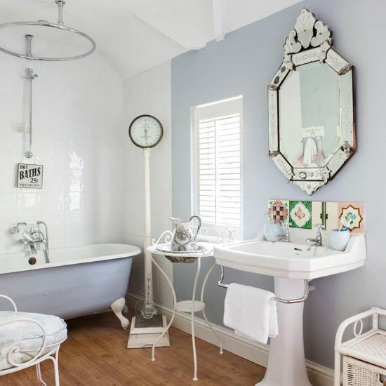 Soft Blue And White Bathroom