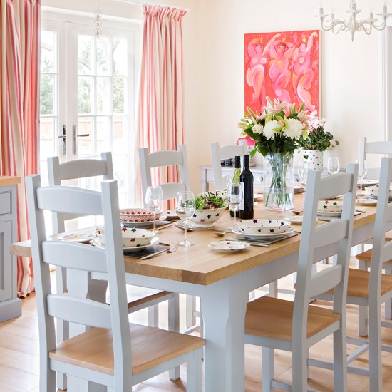 Dining Room Orange: Traditional Pink And Orange Dining Room