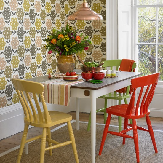 Vintage Dining Rooms: Dining Room With Retro Print Wallpaper