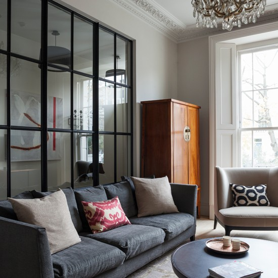 Living Room Wall Decorating Ideas: Grey Living Room With Glass Panelled Wall