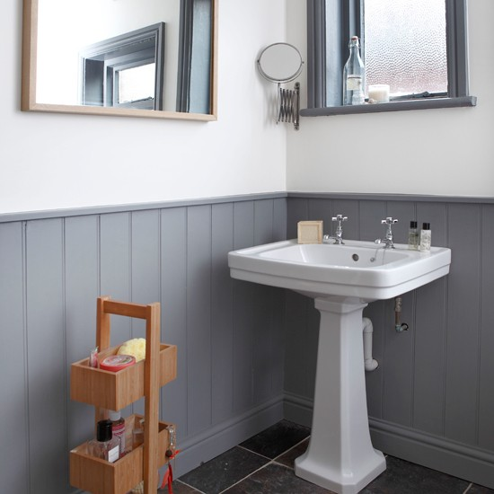 Grey And White Panelled Bathroom