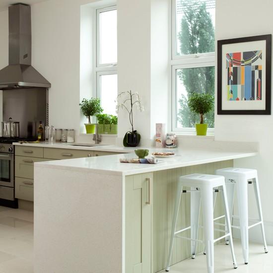 Kitchen With Peninsula: White And Pale Green Kitchen Peninsula