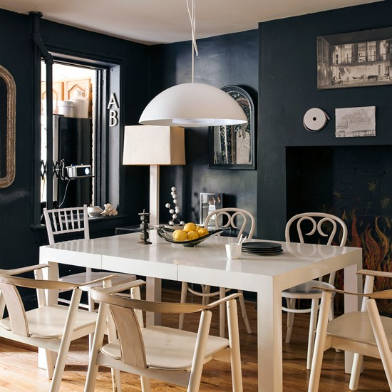 Dramatic Dining Room Design: Dramatic Dining Room With Blackboard Wall