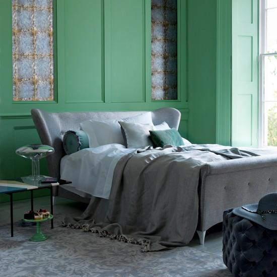 Serene green bedroom bedroom decorating ideas - Green and grey bedroom ...