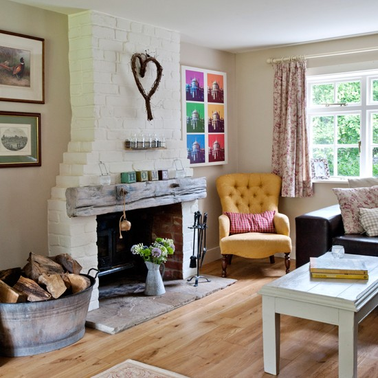 Traditional Living Room With Exposed Brick Chimney Breast