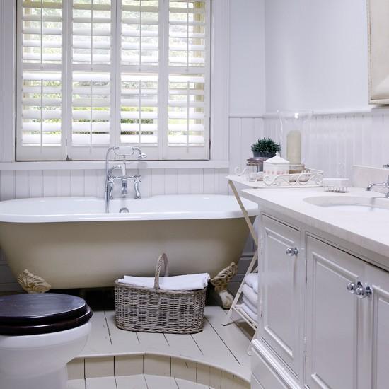 Grey Country Bathroom With Rolltop Bath: All-white Bathroom With Roll-top Bath And Shutters