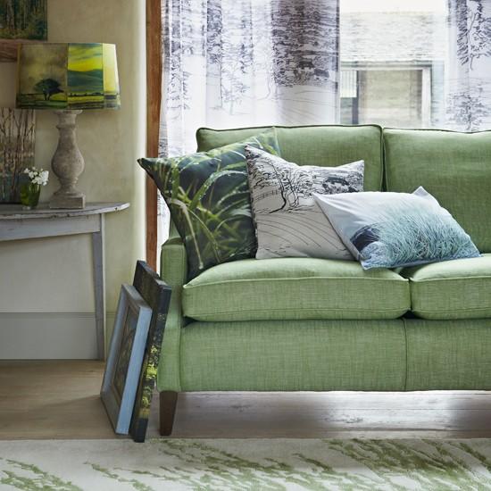 Green Living Room With Woodland Print Fabrics Living