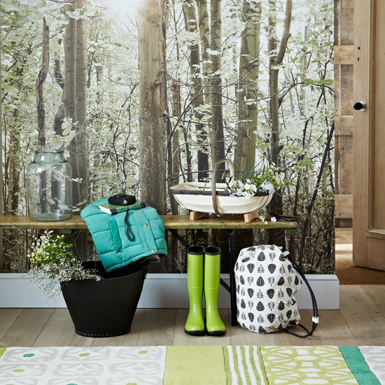 Country hallway with woodland wallpaper | Woodland design room ... - Hallway Wallpaper Ideas