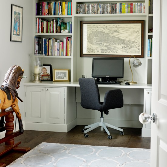 Small Home Office Ideas For Men And Women: White Home Office With Fitted Shelves