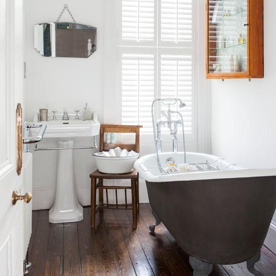 Housetohome Co Uk: White Bathroom With Wooden Floor