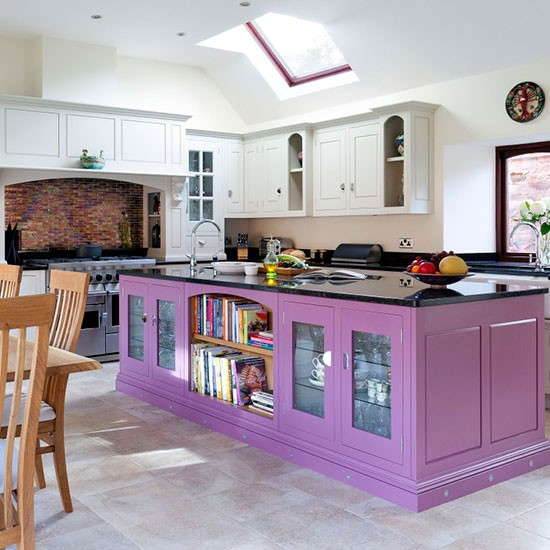Painted Kitchen Island Ideas: Purple Painted Kitchen Island