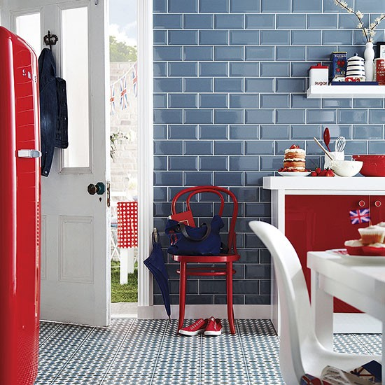 Red, White And Blue Tiled Kitchen