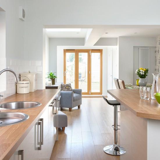 Pale Grey Kitchen With Oak Effect Floor Kitchen