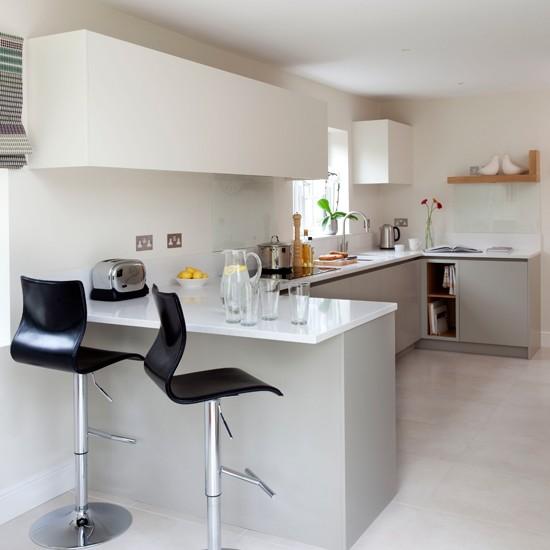 Kitchen Bar Ideas: White Modern Breakfast Bar