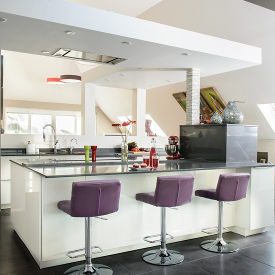White Modern Kitchen With Purple Stools Housetohome Co Uk