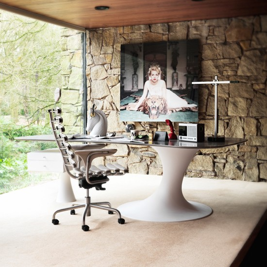 Livingetc Magazine Modern Design Ideas: Modern Home Office With Stone Feature Wall