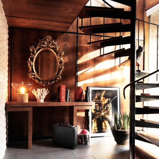 Decorating A Staircase Ideas Inspiration: Modern Hallway With Wooden Spiral Staircase